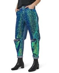Jeans boyfriend con paillettes blu