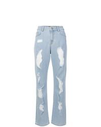 Jeans boyfriend strappati azzurri di Versus