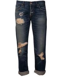 Jeans boyfriend strappati blu scuro