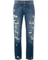 Jeans boyfriend strappati blu di Dolce & Gabbana