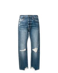 Jeans boyfriend strappati blu di Frame Denim