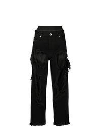 Jeans boyfriend strappati neri di Diesel