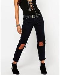 Jeans boyfriend strappati neri di Glamorous