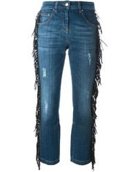Jeans con frange blu