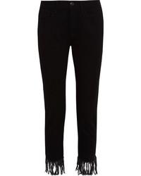 Jeans con frange neri