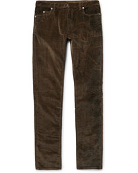 Jeans di velluto a coste marrone scuro