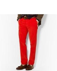 Jeans di velluto a coste rossi