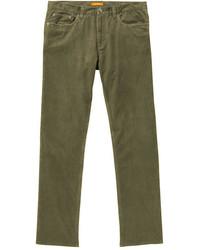 Jeans di velluto a coste verde oliva