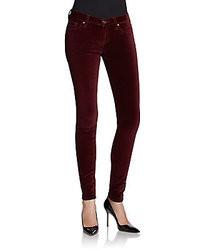 Jeans di velluto bordeaux