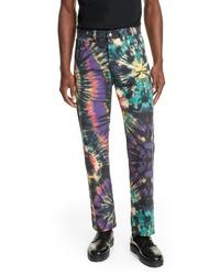 Jeans effetto tie-dye multicolori
