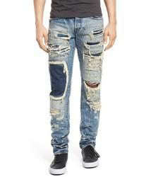 Jeans patchwork azzurri
