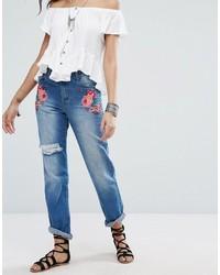 Jeans ricamati blu di Boohoo
