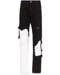 Jeans strappati neri e bianchi