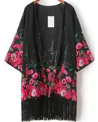 Kimono a fiori nero