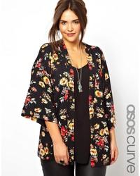 Kimono a fiori nero di Asos Curve
