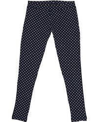 Leggings a pois blu scuro