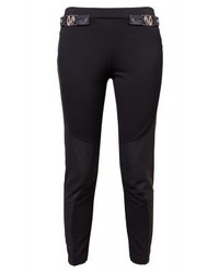 Leggings in pelle neri di Versace