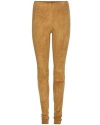 Leggings in pelle scamosciata marrone chiaro