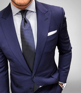 ... Look alla moda per uomo  Abito a righe verticali blu scuro bc57275d38f