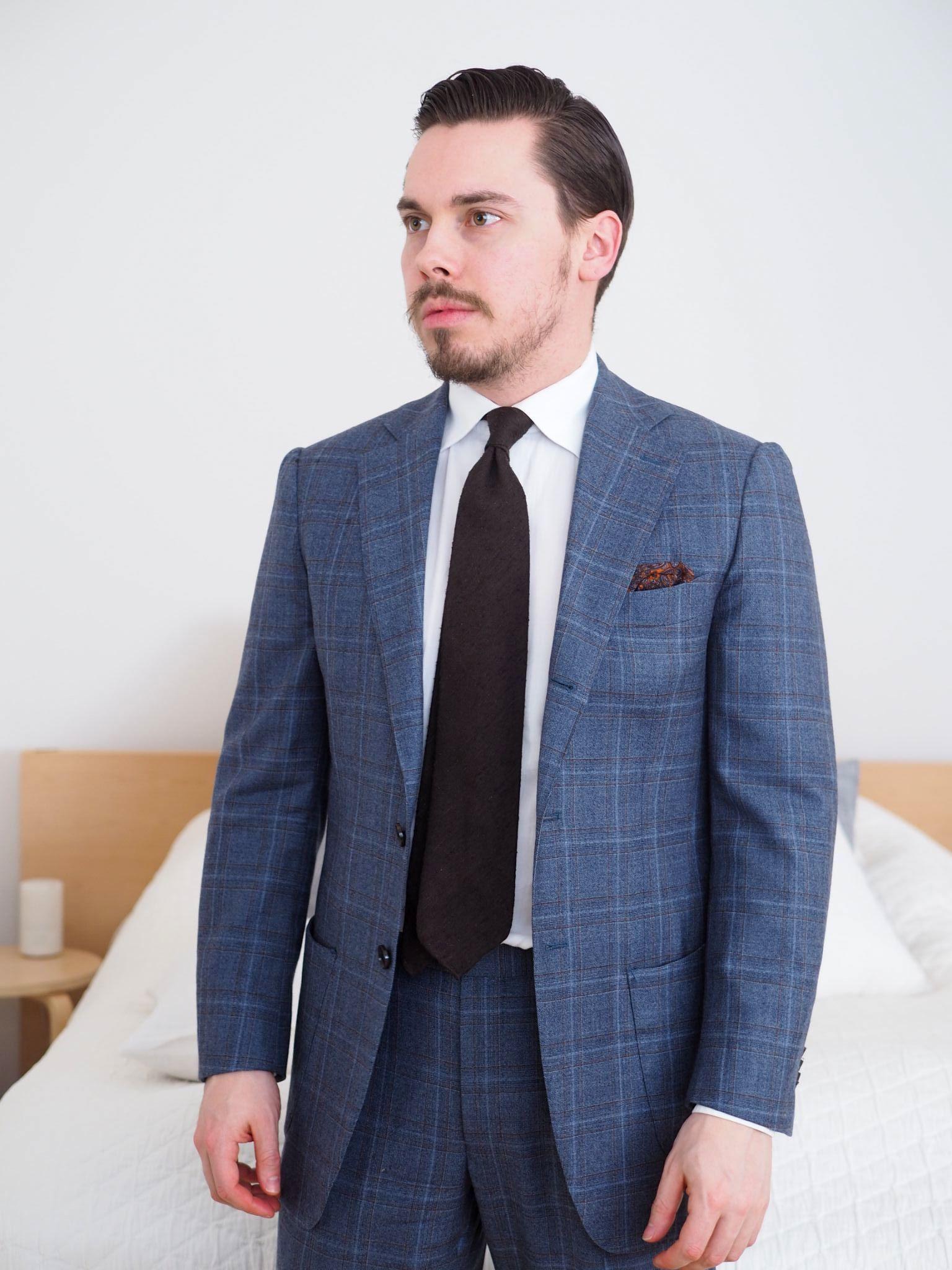 spesso Look alla moda per uomo: Abito scozzese blu scuro, Camicia  RI55