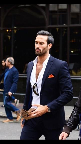 Alla Bianca Scuro Camicia Per Elegante Moda Look Blu Abito Uomo SUddzFn 0ed7cf73d78