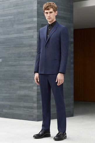 miglior grossista valore eccezionale dal costo ragionevole Abito blu con camicia nera – Vestiti da cerimonia