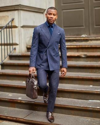 Come indossare e abbinare scarpe double monk in pelle marrone scuro: Indossa un abito blu scuro con una camicia elegante blu scuro per un look elegante e alla moda. Per distinguerti dagli altri, prova con un paio di scarpe double monk in pelle marrone scuro.