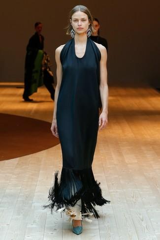 quality design a3a0b be4a1 Look alla moda per donna: Abito da sera di seta con frange ...