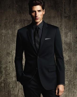 Rudyard Kipling impulso Orrore  Come indossare e abbinare una camicia elegante a quadri nera con un abito  nero (1 outfit) | Lookastic