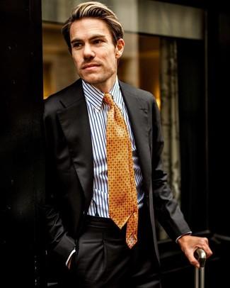 Come indossare e abbinare: abito nero, camicia elegante a righe verticali bianca e blu, cravatta stampata arancione