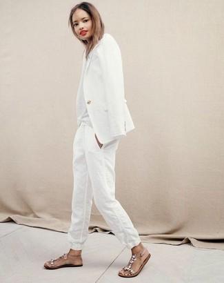 Bianco Donna Pantaloni Blazer Lino E rxBdCeo