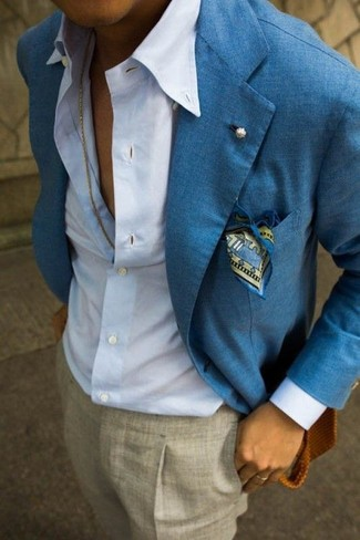... Look alla moda per uomo  Blazer di lino blu 11688122fed