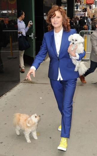 Blazer blu camicia elegante bianca pantaloni eleganti blu large 13342