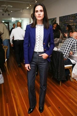 Blazer blu maglione girocollo grigio jeans grigio scuro large 5114