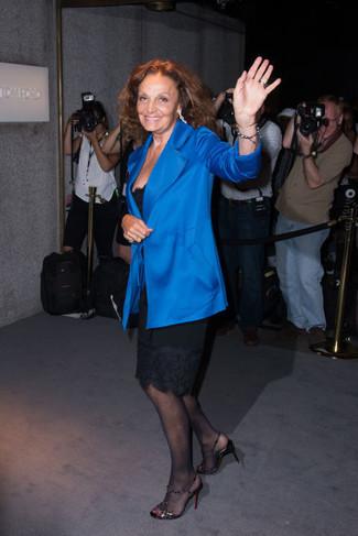 Blazer blu vestito a tubino nero sandali con tacco neri large 22647