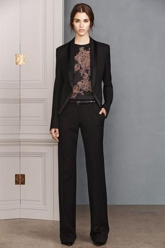 detailed look 10220 77377 Look alla moda per donna: Blazer nero, Camicetta manica ...
