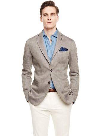 ... Look alla moda per uomo  Blazer di lino grigio 0bd56da0afe