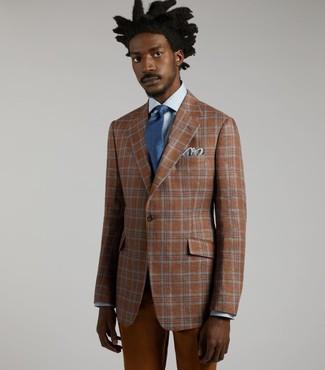 Come indossare e abbinare: blazer scozzese terracotta, camicia elegante azzurra, chino terracotta, cravatta blu