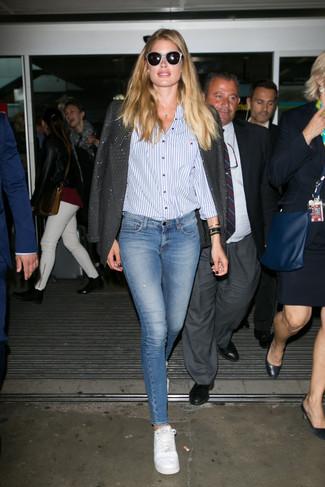 Blazer camicia elegante jeans aderenti large 22657