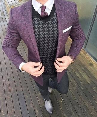 Blazer Come Un Elegante Camicia Indossare Con PqUTAwP Bianca Viola Una E fqdrqH