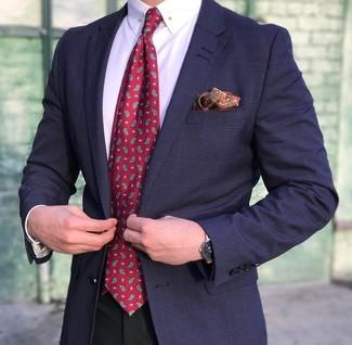 Sfodera un look elegante con un blazer scozzese blu scuro per uomo di Ermenegildo Zegna e pantaloni eleganti neri.