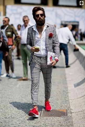 Alla Blazer Moda Camicia Scozzese Per Elegante Uomo Look Grigio fI1wqdf