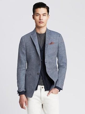 new style 47452 15285 Look alla moda per uomo: Blazer di lino grigio, Cardigan blu ...