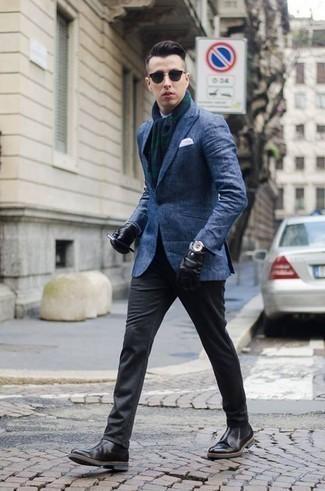 Come indossare e abbinare guanti in pelle neri: Per un outfit della massima comodità, prova a combinare un blazer blu con guanti in pelle neri. Scegli un paio di stivali chelsea in pelle neri per mettere in mostra il tuo gusto per le scarpe di alta moda.