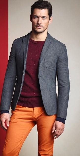 ... Look di David Gandy  Blazer di lana grigio 8b632fa81d6