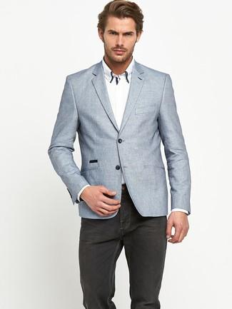 uk availability 9f0b9 5a118 Look alla moda per uomo: Blazer di lino grigio, Camicia ...