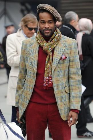 Come indossare: blazer scozzese verde oliva, dolcevita rosso, chino di velluto a coste rossi, coppola a quadretti marrone