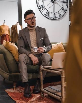 Come indossare e abbinare chino marroni: Combina un blazer a quadri marrone con chino marroni per creare un look smart casual. Scegli un paio di stivali chelsea in pelle marrone scuro come calzature per mettere in mostra il tuo gusto per le scarpe di alta moda.