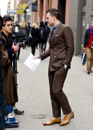 Come indossare un blazer doppiopetto marrone scuro (52 foto)  bb5c05242cb