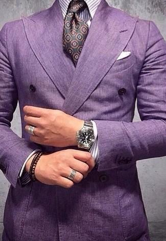 Come indossare e abbinare: blazer doppiopetto viola melanzana, camicia elegante a righe verticali viola melanzana, cravatta di seta stampata melanzana scuro, fazzoletto da taschino bianco